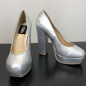 fRh Shiny Metallic Silver Chunky High Heels